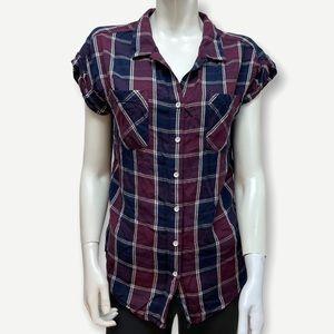 JACHS GIRLFRIEND plaid short sleeve button up M